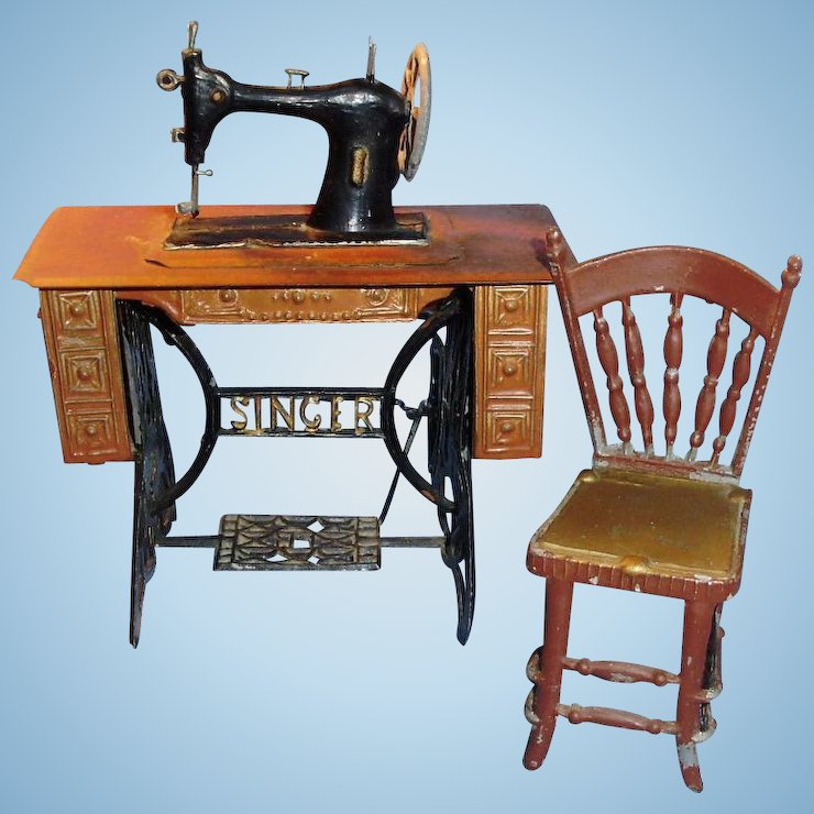 Antique Dollhouse Painted Metal Singer Sewing Machine And Chair Mesmerizing Metal Singer Sewing Machine