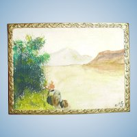 Hand Painted  Dollhouse Watercolor Painting In Embossed Metal Frame