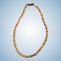 Antique Gold Glass Bead Doll Necklace