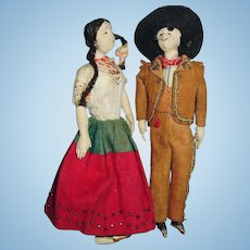 1930 Vintage Foreign Molded Face Cloth Doll Couple