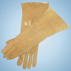 Antique Opera Suede Doll Gloves With  Button Closure