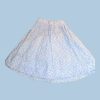 1870 Blue and White Calico Antique Doll Skirt