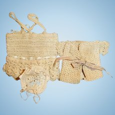 Small Size Antique Three Piece Crochet Knit Doll Outfit