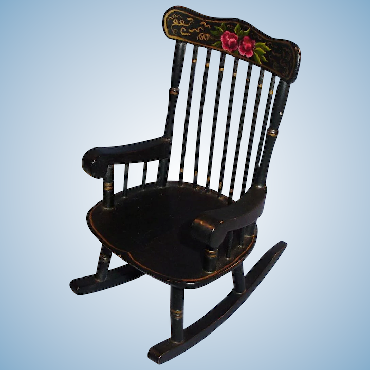 Remarkable Vintage A Stuwe Original Dollhouse Black Painted Rocking Chair Gmtry Best Dining Table And Chair Ideas Images Gmtryco
