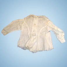 Antique 1860 Fine White Linen Fitted Fashion Doll Shirt