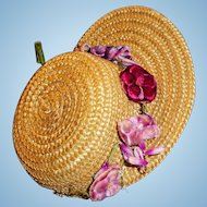 Antique Natural Straw Doll Hat With Velvet Flower Decoration