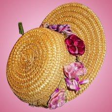 Antique Natural Straw Doll Hat With Velvet Flower Decoration