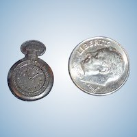 Tiny Antique Pewter Doll Size Pocket Watch