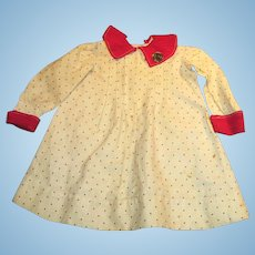 Antique Red Polka Dot Cotton Linen Antique Doll Dress