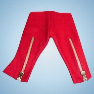 Vintage Red Wool Felt Doll Pants With Zippers