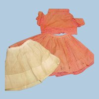 Antique 3 Piece Red Cotton Windowpane Print Doll Outfit