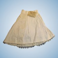 Antique White Cotton And Lace Doll Half Slip With Hankie