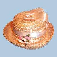 Vintage Pink Straw Doll Hat