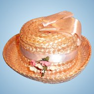 Vintage Pink Straw Doll Hat