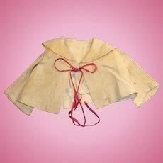 Antique Ecru Color Bertha Collar Linen Doll Jacket