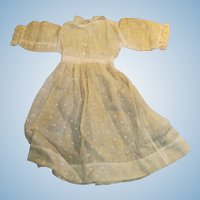 Antique White Dotted Swiss And Lace Organdy Doll Dress