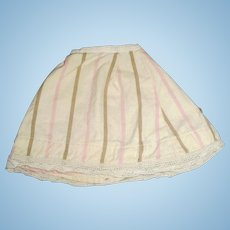 Antique Wool Flannel And Lace Stripe Doll Slip
