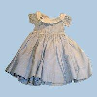 Antique 1800s Blue And White Hand Stitched Wide Neckline Cotton Doll Dress