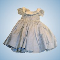 Antique 1800s Blue And White Hand Stitched Wide Neckline Cotton Doll Dress