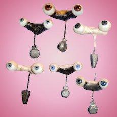 6 Pair Antique German Glass Sleep Doll Eyes