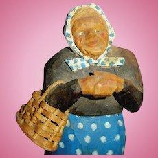 Vintage Carved Wood Norway Woman Holding Basket Doll Figure