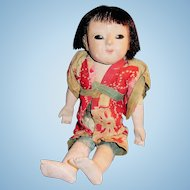 Old Gofun And Cloth Japanese Ichimatsu Doll
