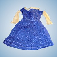 Antique Blue And White Polka Dot German Doll Dress