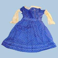 Antique Blue And White Polka Dot German Doll Dress