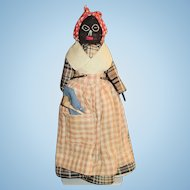 Vintage 1930s Black Embroidered Cloth And Wood Doll