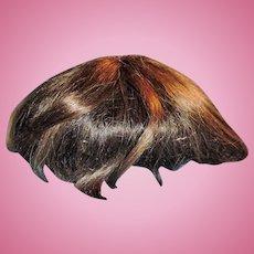 Antique German Brunette Human Hair Toddler Doll Wig