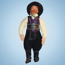 Vintage Painted Carved Wood And Cloth Male Doll
