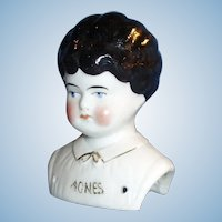 Antique German Anes Name China Doll With Molded Collar