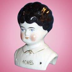 Antique German China Doll Agnes Name On Shoulder