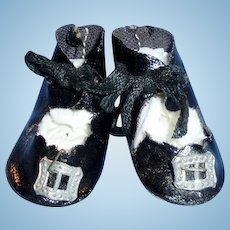 Antique Black Leatherette Doll Shoes With Silver Buckles