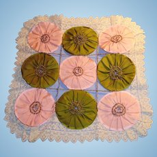 Antique Pink And Green Silk Doll Quilt With Lace Trim