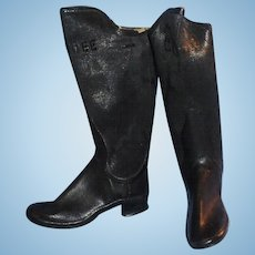 Antique Candee Black Rubber Doll Boots