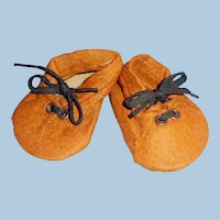Vintage 1930 German Brown Felt Wide Tie Doll Shoes With Label
