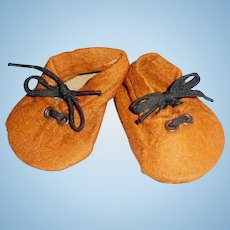 Vintage 1930 German Brown Felt Wide Tie Doll Shoes With Label