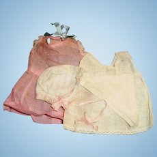 Antique 1920 Pink Organdy Baby Doll Outfit