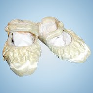 Vintage Large Side Button Silky Baby Doll Shoes