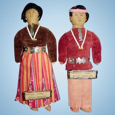 Pair Antique Small Size Ink Face Cloth Navajo Dolls