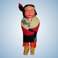 Vintage Child Size Composition Face Skookum Doll