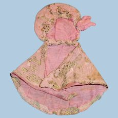 Antique Small Size Pink And Lace Doll Cape