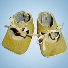 Small Vintage Fuzzy Cloth Tan Doll Tie Shoes