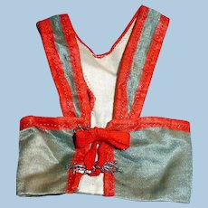 Antique Red And Pale Blue Silk Doll Vest
