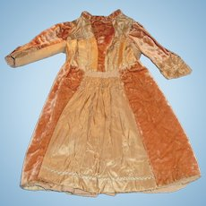 Antique Tan Silk Wool Crushed Velvet Hand Made Doll Dress