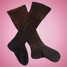 Antique Long Black Cotton Doll Stockings