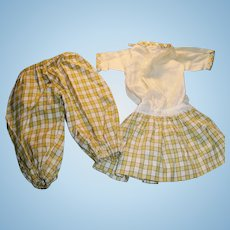 Antique Yellow Cotton Plaid Doll Dress And Underwear
