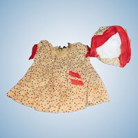 1930s Vintage Bubble Print Doll Dress and Matching Hat