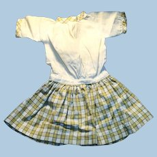 Antique Yellow and White Plaid Skirt Low Waist Doll Dress